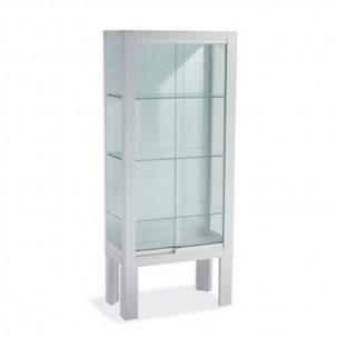 Mobile piedi con porta scorrevole bianca - vetro temperato