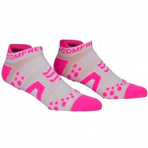 Offerta Fine Stagione - Compressport Pro Racing Socks V2 Run Low Cut - Calze ultratecniche basse - Colore Bianco-Rosa